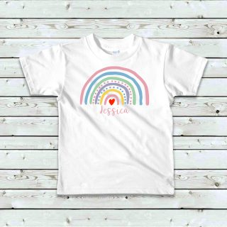 Personalised Rainbow T shirt scaled