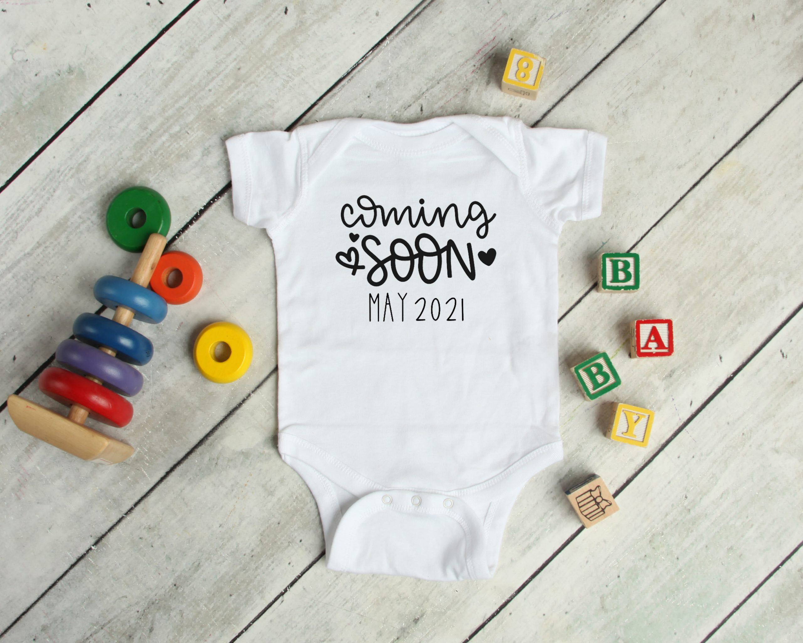 Coming Soon Pregnancy Announcement Baby Grow Personalised Baby Clothes Love Letters Gifts