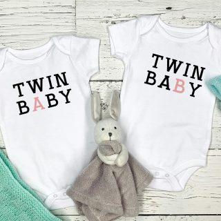 Twin A Twin B – Twins –  Babygrow